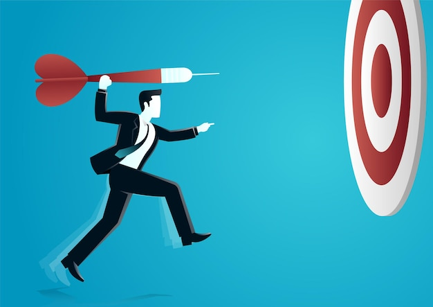 Illustration of a businessman throwing a dart to target board.
