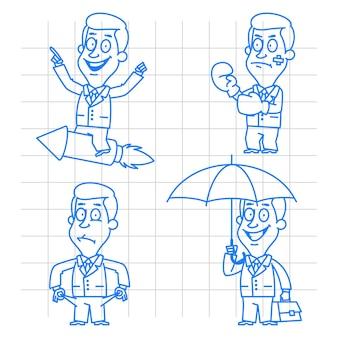 Illustration, businessman in various poses doodle, format eps 10