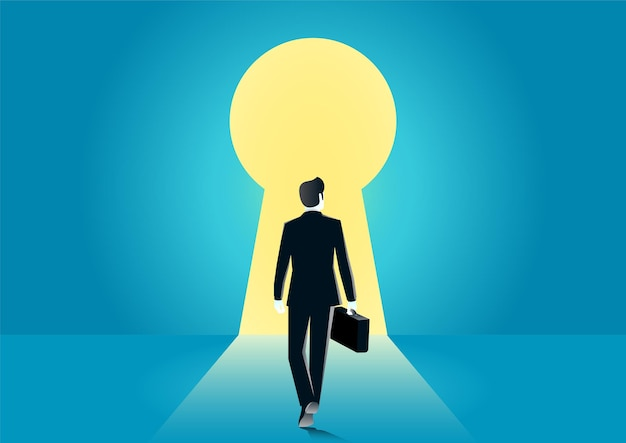 Illustration of businessman walking into keyhole