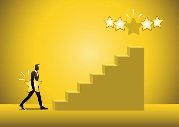 An illustration of a businessman walking on stair step holding a star in hand to give five
