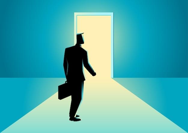 Illustration of a businessman walking towards a bright door