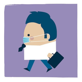 Illustration of a businessman walking wearing a facemask
