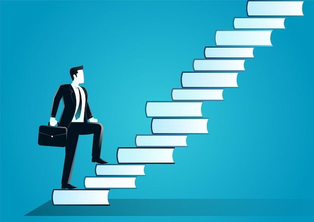Illustration of businessman with suitcase going up the stairs made from books. describe challenge, target business and knowledge.