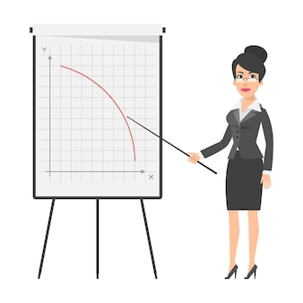 일러스트레이션, 사업가 및 떨어지는 그래프, 형식 eps 10