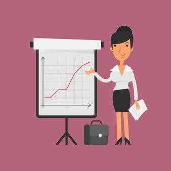 イラスト、グラフ付きフリップチャートの実業家ポイント、フォーマットeps 10