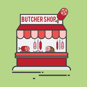 Illustration of a butcher shop