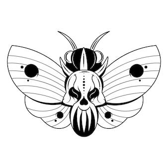 Illustration of a butterfly dead head with a skull-shaped pattern on the thorax. vector banner with realistic moth close