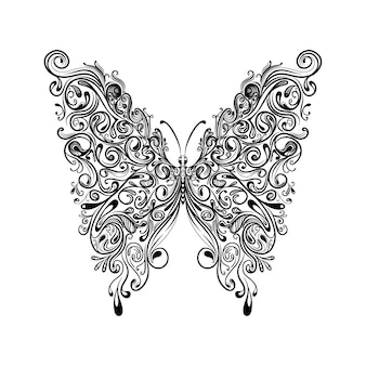 The illustration of the butterfly with the big beautiful wings for tattoo inspiration