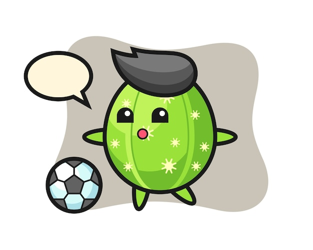 Illustration of cactus cartoon is playing soccer