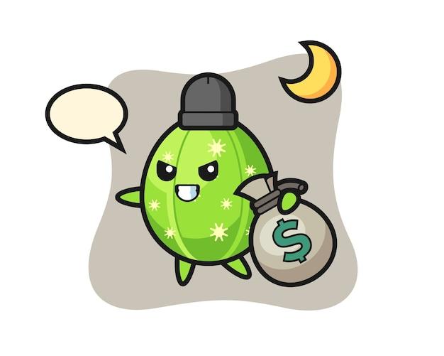 Illustration of cactus cartoon is stolen the money