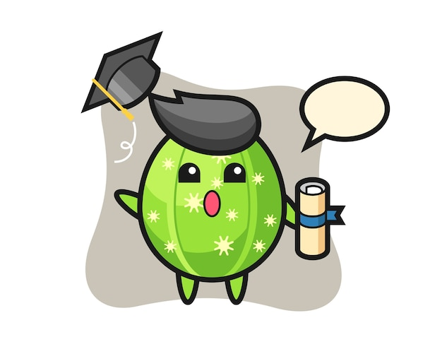 Illustration of cactus cartoon throwing the hat at graduation