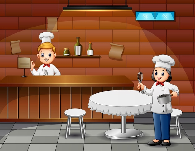 Illustration of cafe scene with chefs and waiters at work