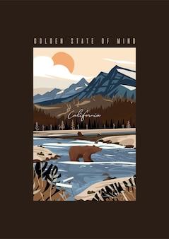 Иллюстрация калифорнийский медведь