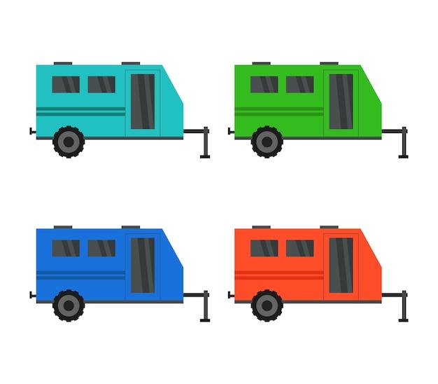 Illustration of camper vans