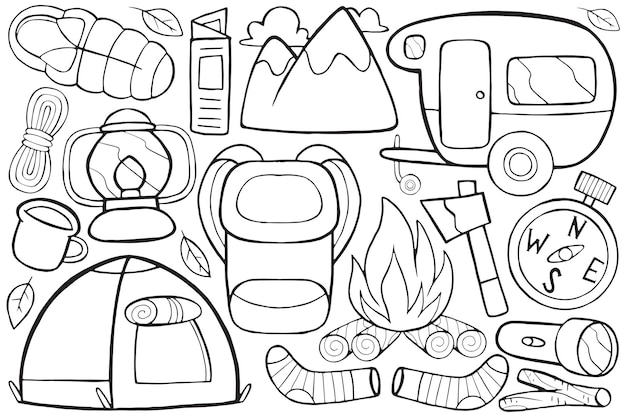Illustration of camping doodle in cartoon style