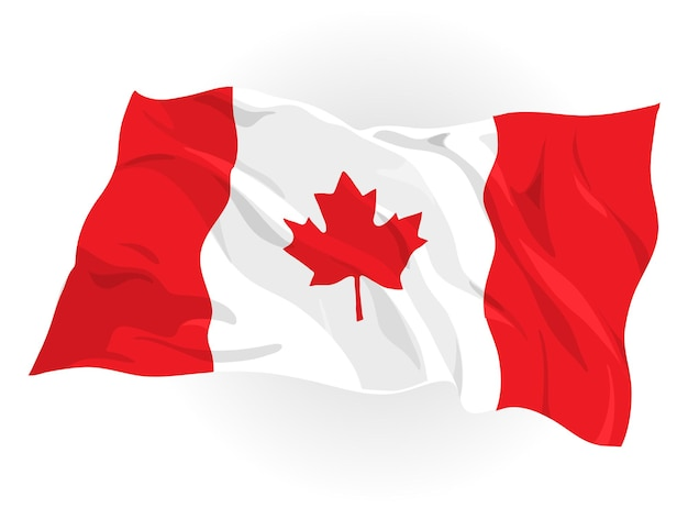 Illustration of canadian flag floating in the air