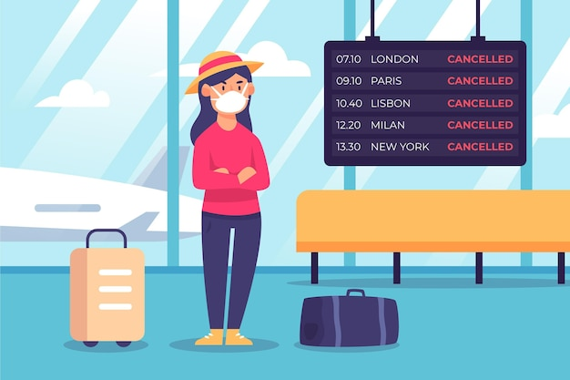Illustration of cancelled flight announcement in airport
