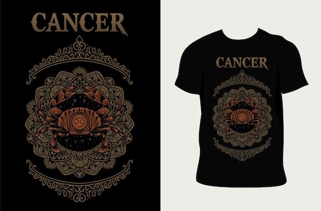 Illustration cancer zodiac symbol with t shirt design