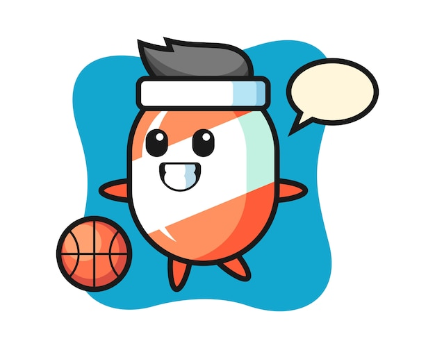 Illustration of candy cartoon is playing basketball