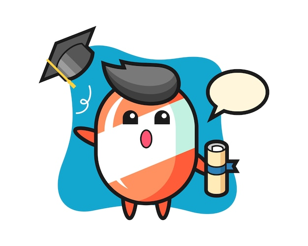 Illustration of candy cartoon throwing the hat at graduation