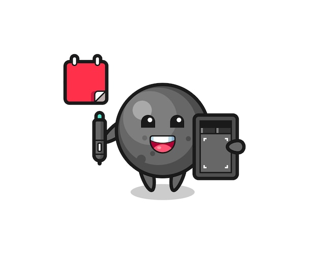 Illustration of cannon ball mascot as a graphic designer , cute style design for t shirt, sticker, logo element