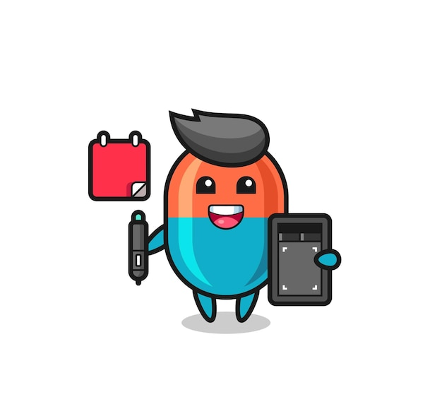 Illustration of capsule mascot as a graphic designer , cute style design for t shirt, sticker, logo element