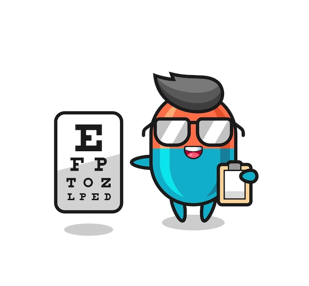 Illustration of capsule mascot as an ophthalmology , cute style design for t shirt, sticker, logo element