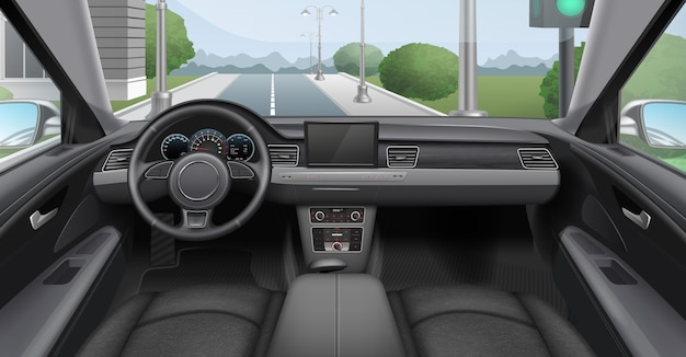 Illustration of car dark interior with dashboard windshield