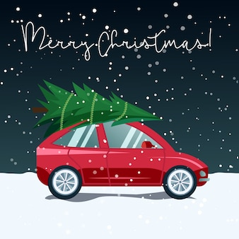 Illustration of a car delivering a christmas tree in a snowy winter landscape