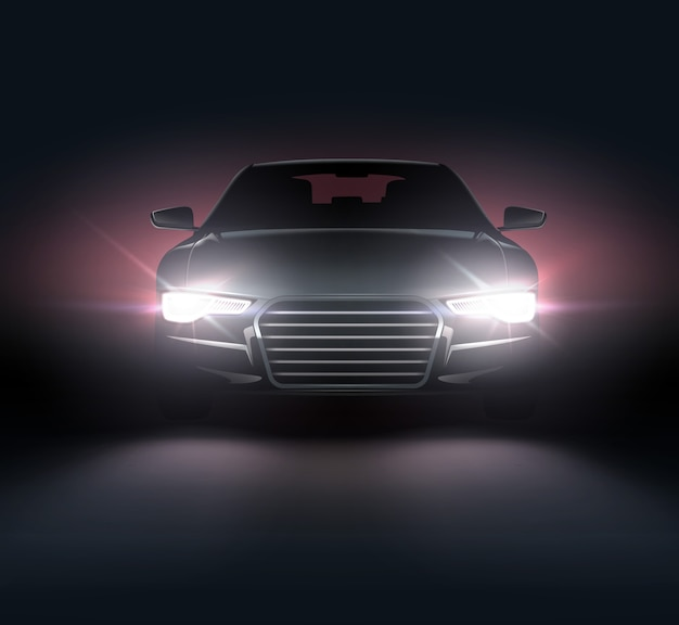 Illustration of car lights realistic composition of night scenery