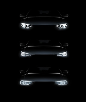 Illustration of car lights realistic set stylish automobile silhouette with white headlights on black background
