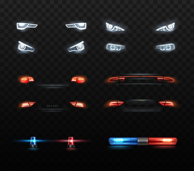 Illustration of car lights set of realistic headlight and compositions