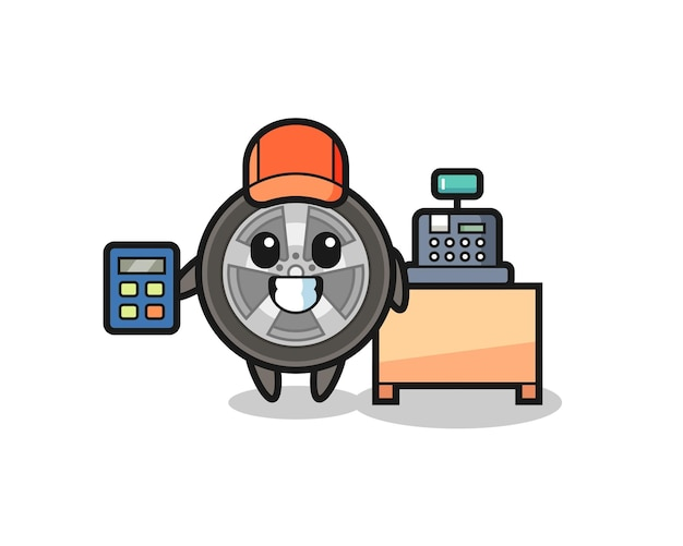 Illustration of car wheel character as a cashier , cute style design for t shirt, sticker, logo element