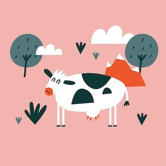 Карточка иллюстрации с белой коровой. мультяшный стиль.