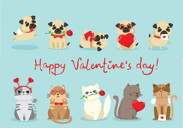 Illustration card with cute cartoon little valentine cat and dog in love and funny greeting text happy valentine's day
