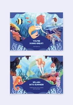 인어 개념, 수채화 스타일 그림 카드