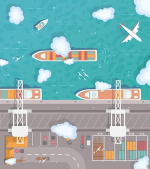Illustration of a cargo port in flat style. t