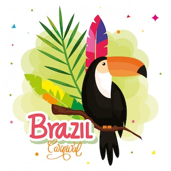 Illustration of carnival brazil with toucan and decoration