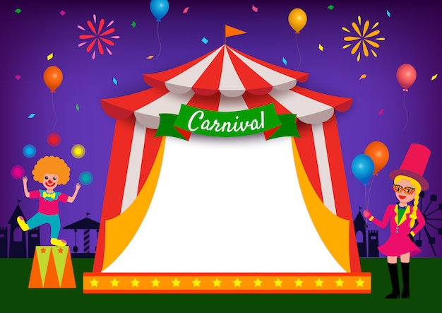 Illustration of carnival party festival with circus frame