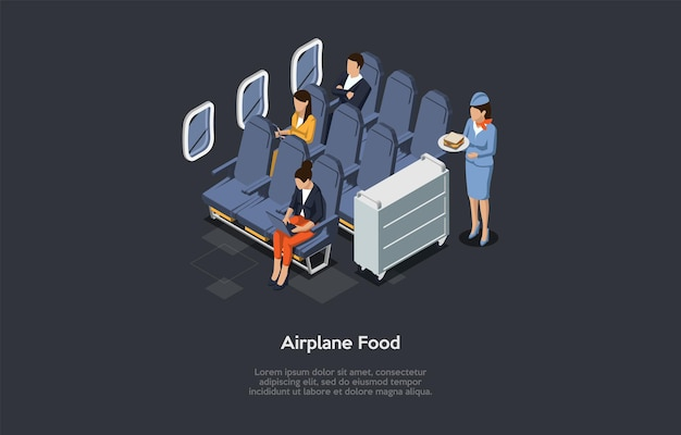 Illustration in cartoon 3d style. airplane nutrition concept.