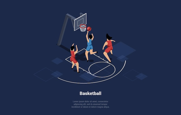 Illustration in cartoon 3d style of basketball players team on court