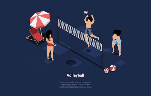 Illustration in cartoon 3d style on blue dark. three characters in swimming suits playing beach volleyball