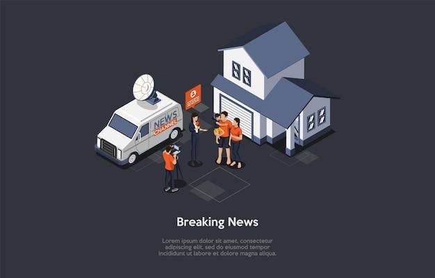 Illustration in cartoon 3d style of breaking news