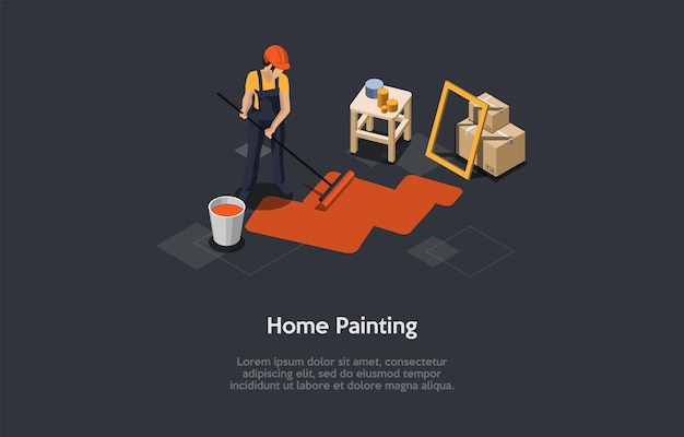 Illustration in cartoon 3d style. home painting concept design