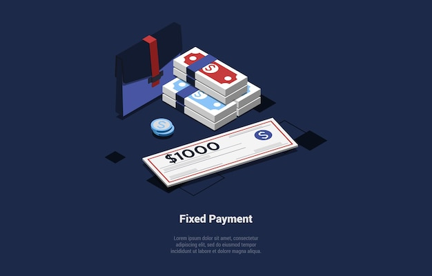 Illustration in cartoon 3d style. isometric composition on blue dark with text and objects. fixed payment concept design