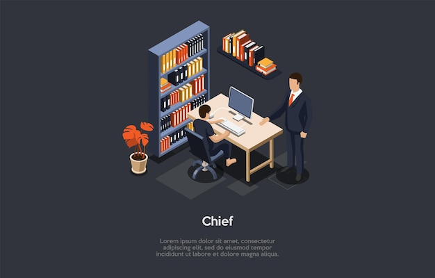 Illustration in cartoon 3d style. office interior items and two characters