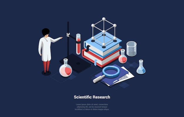 Illustration in cartoon 3d style of scientific research concept
