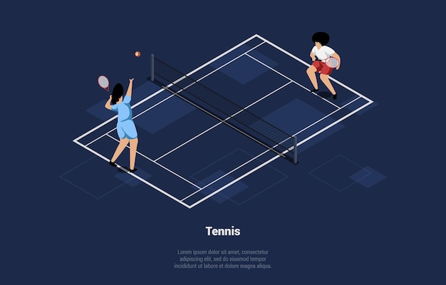 Illustration in cartoon 3d style of two big tennis players on court. characters in uniform with rackets and ball training