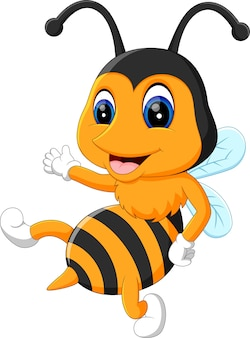 Illustration of cartoon adorable bees