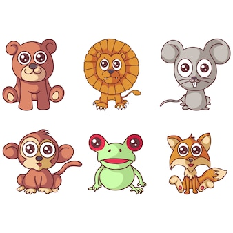 Illustration of cartoon animal set.